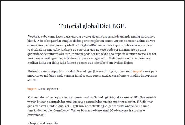 Tutorial globalDict BGE